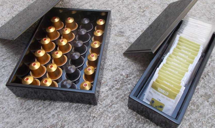 Lacquered tea and coffee boxes
