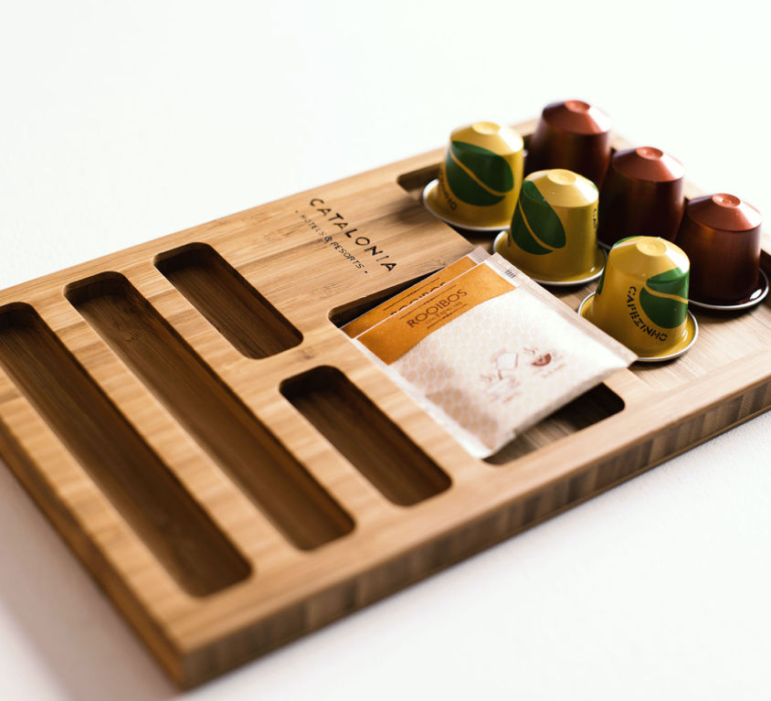 Bamboo tray for coffee and tea